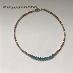 Jewelry - Gold Choker with Blue Crystals